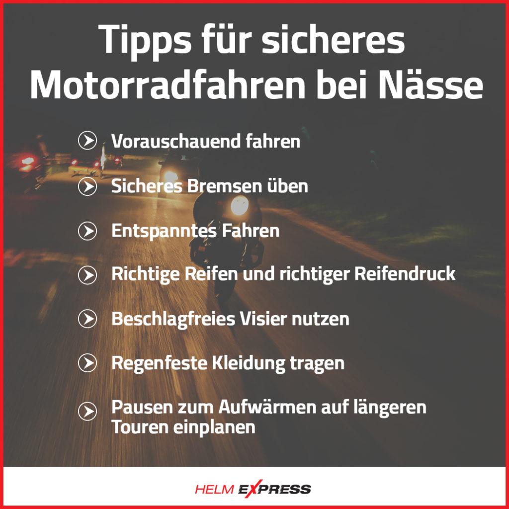 Tipps Motorradfahren bei Regen